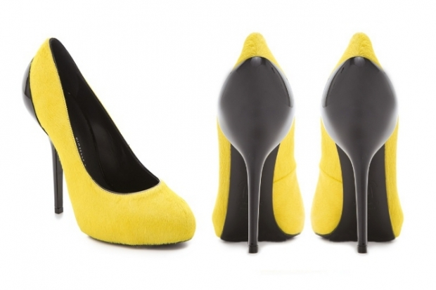 Giuseppe Zanotti Haircalf Yellow Pumps Fall 2012