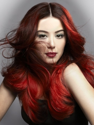 Red Dip Dye Hair Color 2012