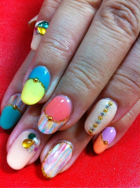 Color Mix Nail Art Ideas for Summer.
