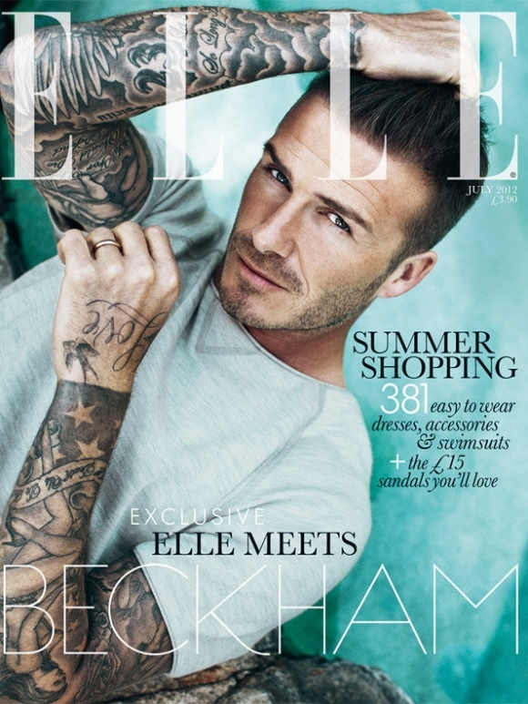 Wet and Topless David Beckham Covers ELLE UK July 2012