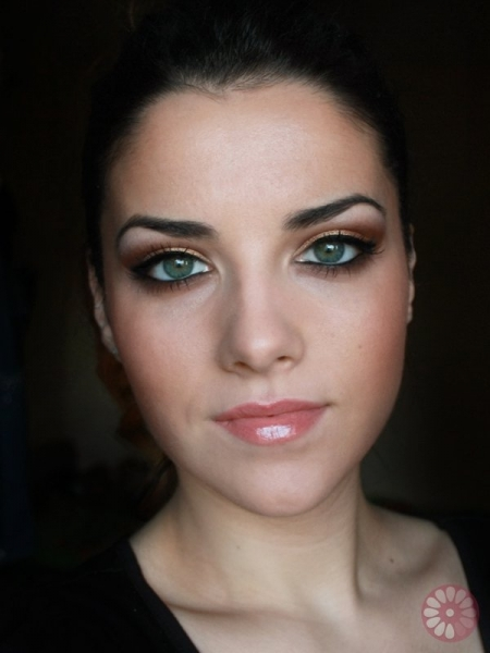 Gold Copper Eyes Makeup Step by Step