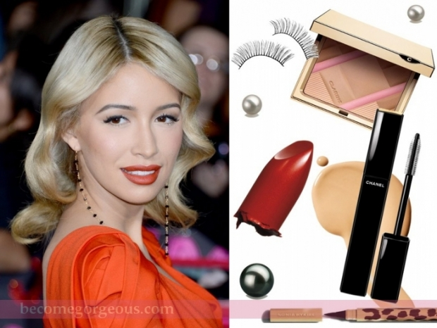 Christian Serratos Brick Red Lips Makeup