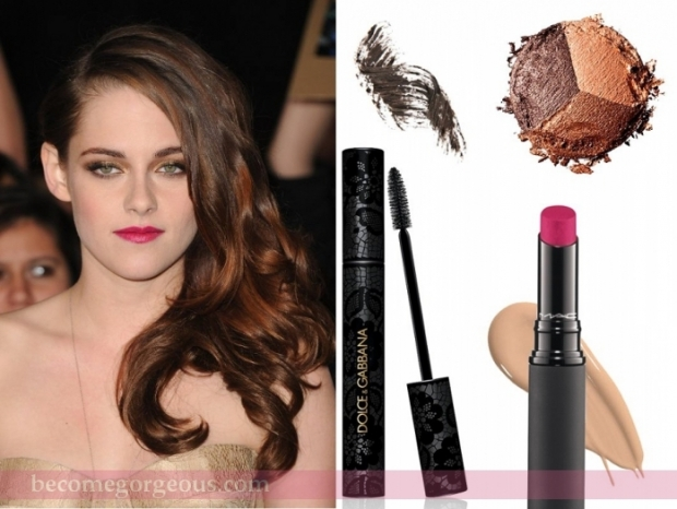 Kristen Stewart Gold Eyes and Pink Lips Makeup