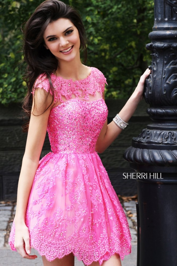 Kendall kylie jenner model sherri hill spring 2013 prom for How to become a wedding dress model