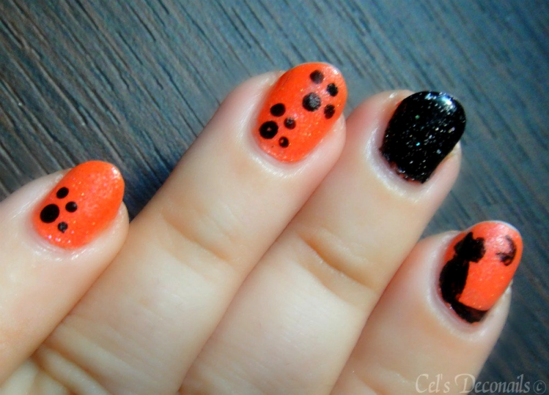 Cat and Cat Paws Halloween Nail Art Tutorial|