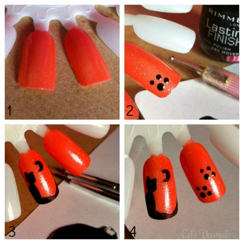 Cat and Cat Paws Halloween Nail Art Tutorial Step by Step