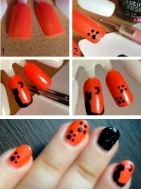 Cat and Cat Paws Halloween Nail Art Tutorial