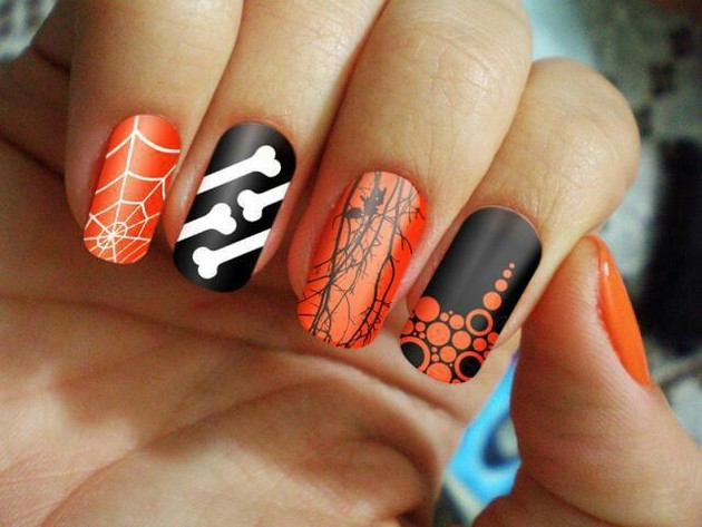 Black And Orange Halloween Nail Art