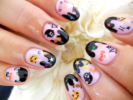 Cute Haunted Halloween Nails