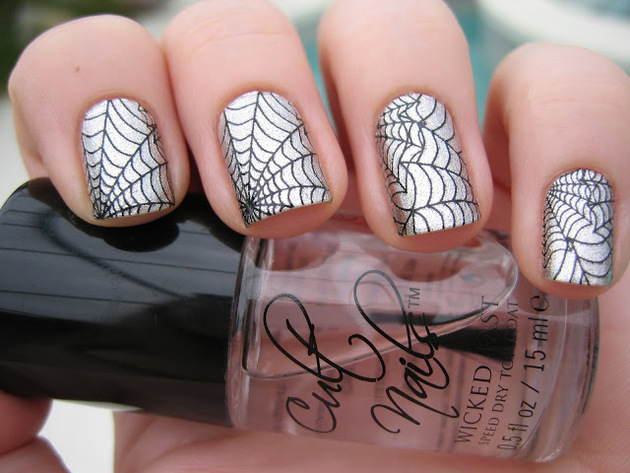 Pictures Halloween Nail Art Inspiration Silver Spider Web Nail Art