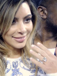 Kim Kardashian Shows Off Engagement Ring