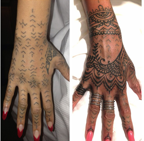 Rihanna Hand Tattoo Before And After