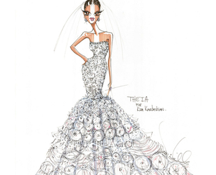 Check out the extravagant wedding dress sketch Theia designer Don O' Neill has prepared for the star!