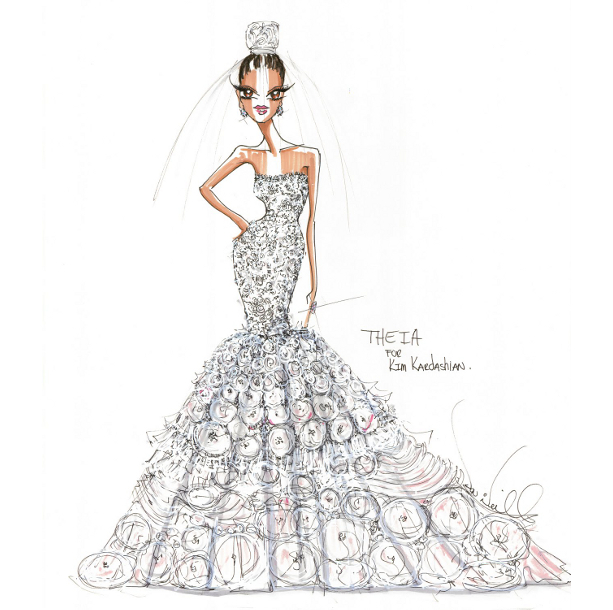 Kim Kardashian Wedding Dress Sketch By Theia