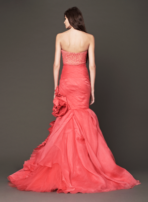 Vera Wang Fall 2013 Bridal Red Siren Dress Back View