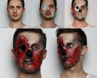 Dress up as a scary zombie this Halloween and follow this easy zombie makeup tutorial.