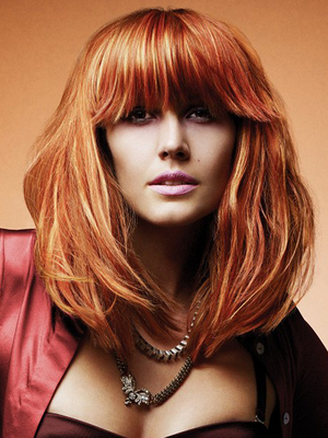 Red Hair Color With Blonde Highlights