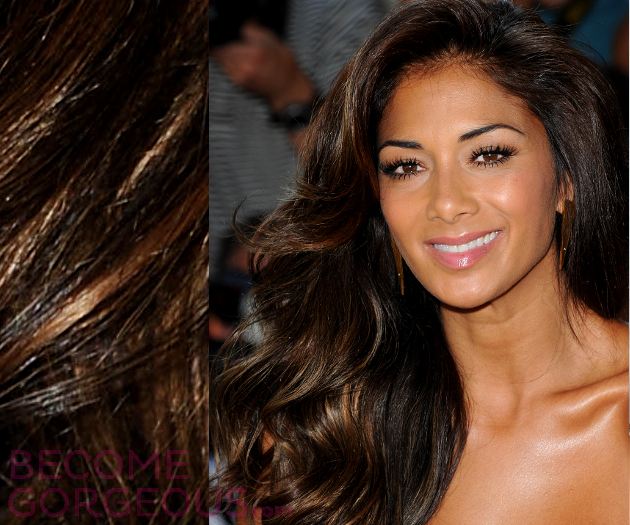 Nicole Scherzinger Toffee Hair Highlights