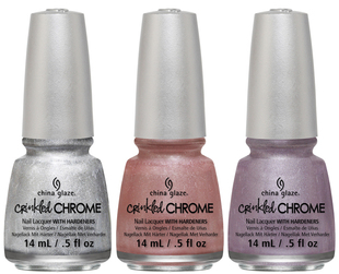 The chrome effect makes a comeback in the new China Glaze Crinkled Chrome 2014 nail polish collection, which features six high impact winter pastels.