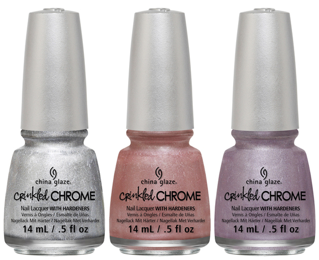 China Glaze Crinkled Chrome 2014 Silver Pink Mauve Tones
