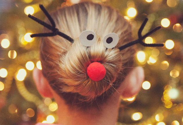 Cute Christmas Hairstyle Idea: Reindeer Inspired Bun