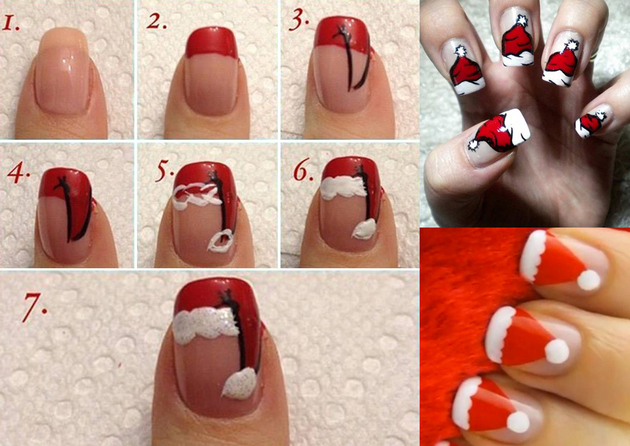 Diy Santa Hat Nail Art