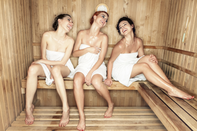 Friends In Sauna At Spa