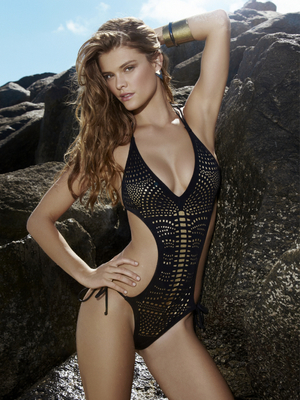 Nina Agdal For Penti 2013 Black Gold Monokini