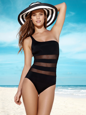 Nina Agdal For Penti 2013 One Shoulder Monokini