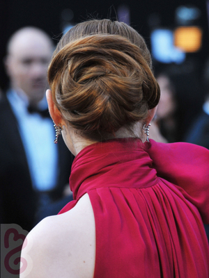 Emma Stone Low Chignon Updo Back View