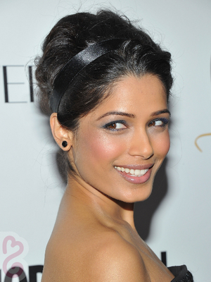 Freida Pinto Beehive Updo With Headband