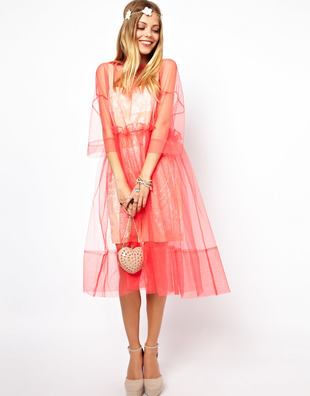 Asos Molly Goddard Embroidered Long Sleeve Smock Dress