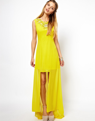 Asos Salon High Low Hem Jewel Neck Dress