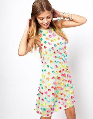 Asos Salon Shift Dress With 3 D Floral Embellishment