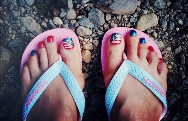 4th Of July American Flag Toe Nail Art
