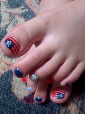 4th Of July Glitter Toe Nail Art