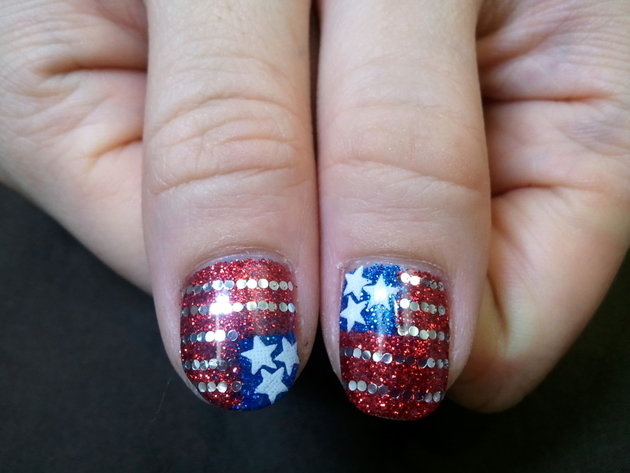 Fourth Of July Glitter Flag Nail Art