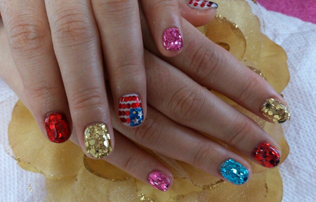 Fourth Of July Glitter Nail Art