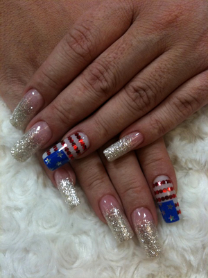 Fourth Of July Glittery Nail Art