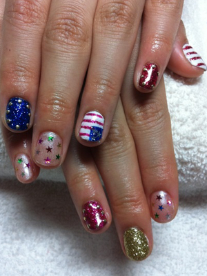 Fourth Of July Multi Nail Art