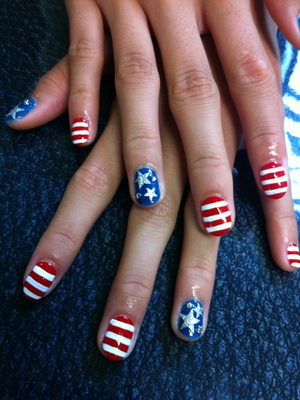 Fourth Of July Stripes And Stars Nail Art