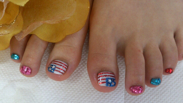 Fourth Of July Toe Nail Art