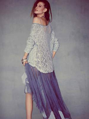 Free People Lace Top And Sheer Skirt