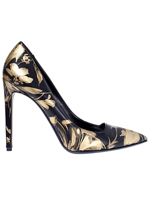 Roberto Cavalli Golden Floral Pumps
