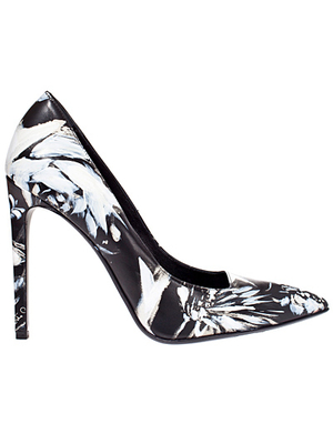 Roberto Cavalli Painted White Floral Pumps
