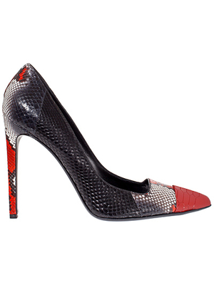 Roberto Cavalli Snake Red Cap Toe Pumps