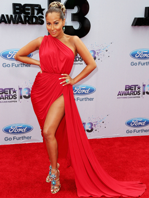 Adrienne Bailon Red Grecian Gown