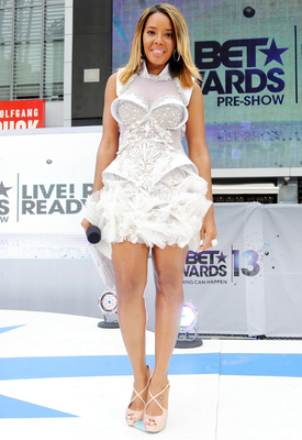 Angela Simmons White Embellished Dress