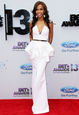 Michelle Williams White Peplum Gown