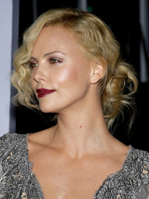 Charlize Theron Messy Low Bun
